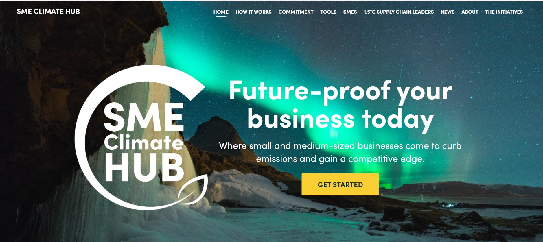 SME Climate Hub website home page