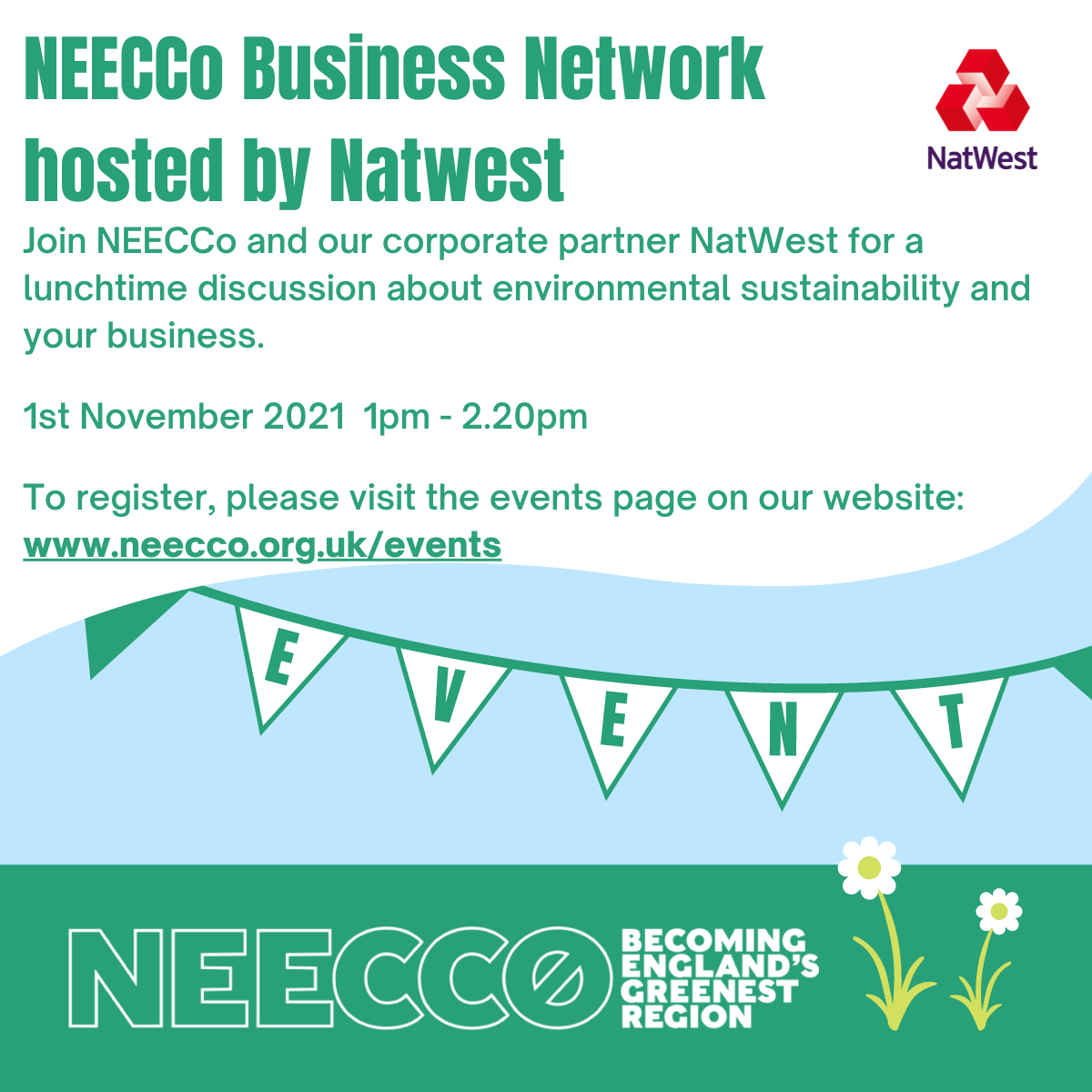 Event image NEECCo Business Network 1st November 1pm to 2.20pm in partnership with NatWest
